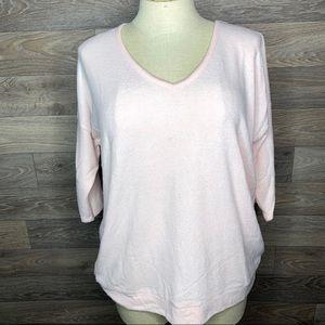 Torrid Soft Pink 3/4 Sleeve V Neck Sweater